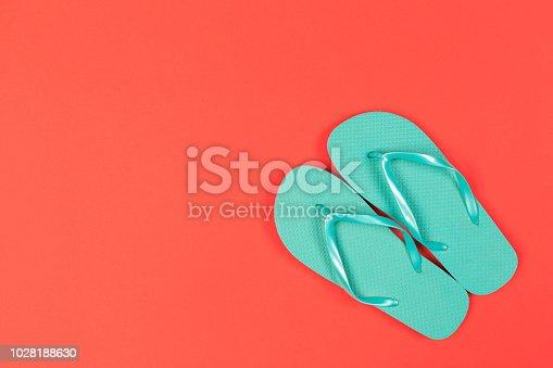 istock flip flops. Top view 1028188630