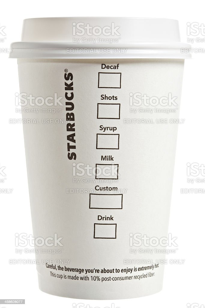 Flip Side Of A Starbucks Paper Coffee Cup stock photo