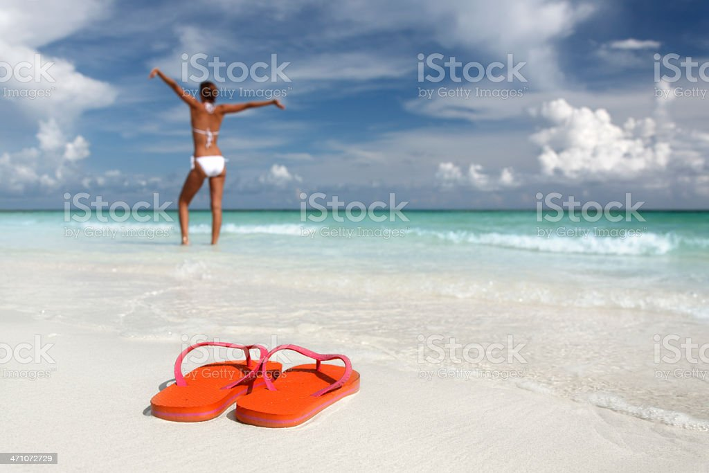 flip-flops and woman stock photo