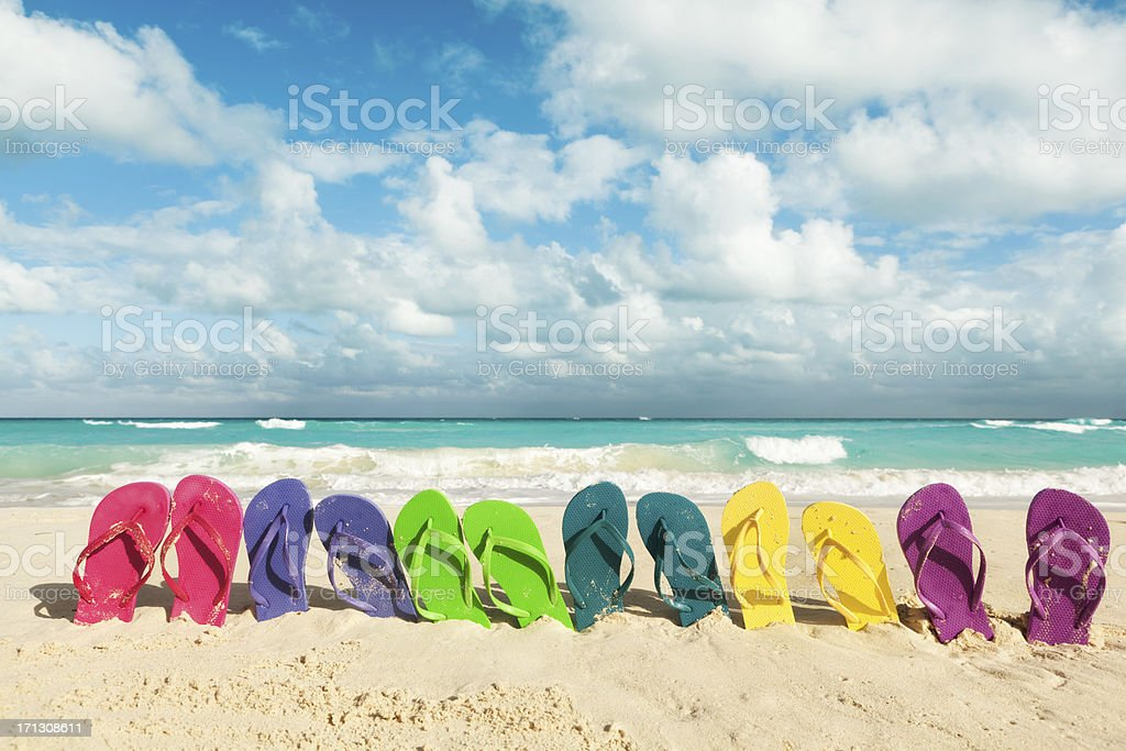 Flip-flops in Beach for Spring Break Party and Summer Vacation stock photo