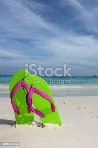 istock Flipflops on a sandy ocean beach 480476636