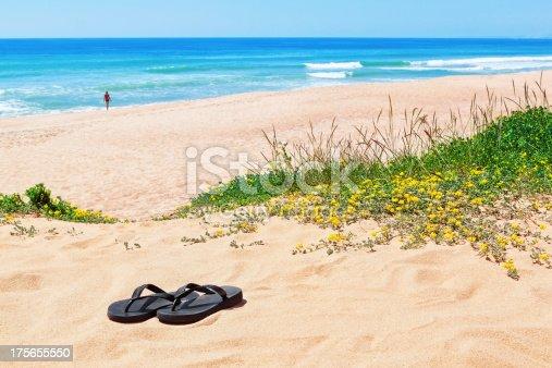 istock Flip-flops on the background of beautiful beach. 175655550