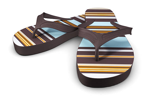 Flip-flops striped with modern retro colors stock photo