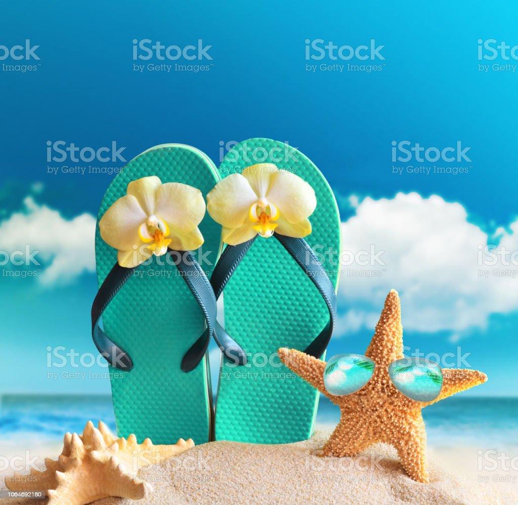 Flipflops Sunglasses With Starfish On Summer Beach Stock