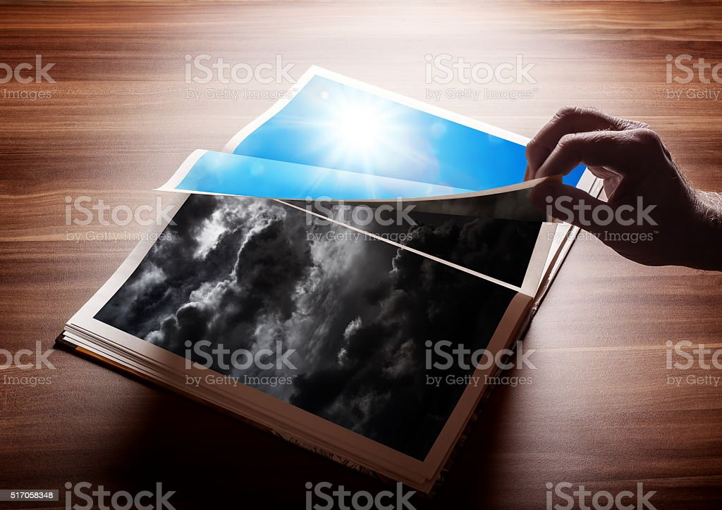 Fliping the page of my book stock photo