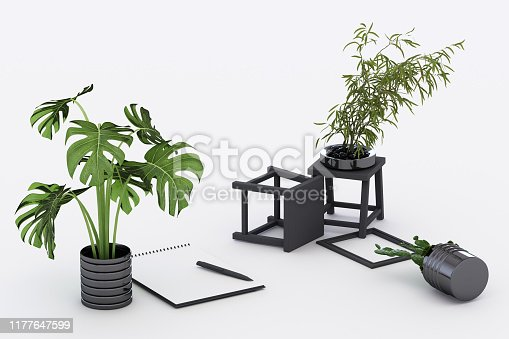 istock A4 flipped paper with black clipboard, potted plant, cactus, frame and pen on white background. 3d rendering 1177647599