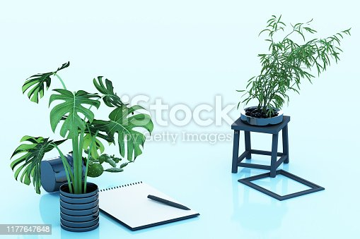 istock A4 flipped paper with black clipboard, potted plant, cactus, frame and pen on blue background. 3d rendering 1177647648