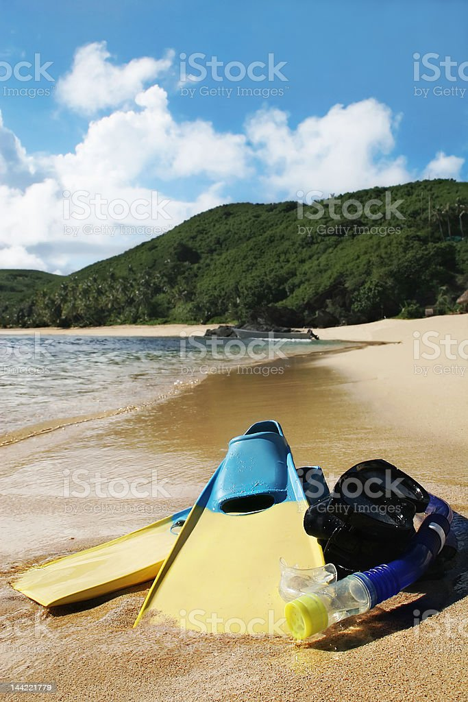 flippers and snorkle - beach vacation royalty-free stock photo