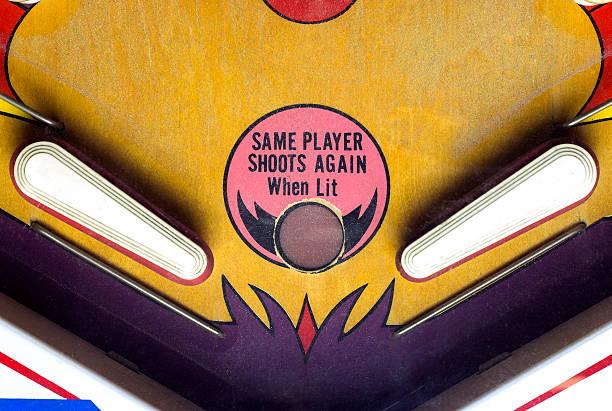 flippers of a vintage pinball table - pinball spielen stock-fotos und bilder