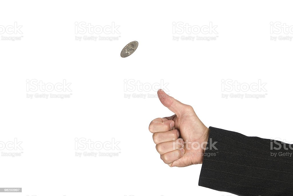Flipping coin royalty-free stock photo