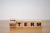 istock Flipping od wooden cube block for change short term to long term. Business investment concept. 1255415963