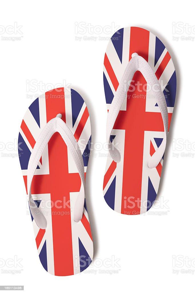 Flips Flops with UK Union Jack flag royalty-free stock photo