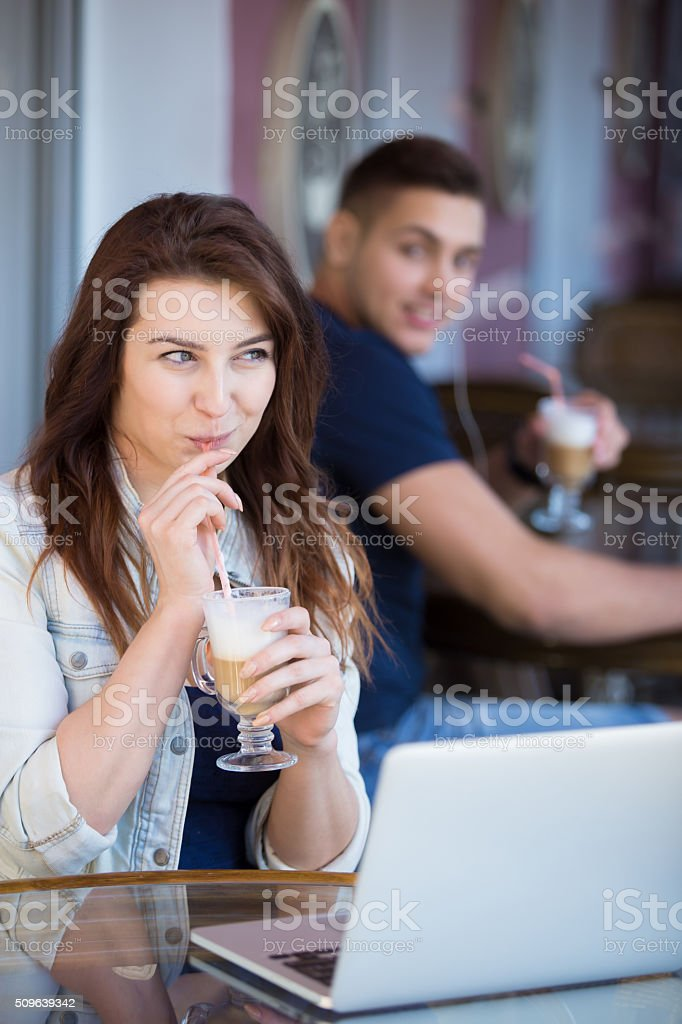 Flirting in a cafe stock photo