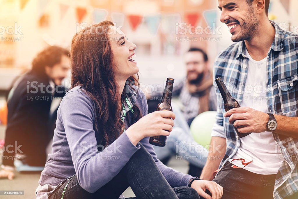 Flirting on a party stock photo