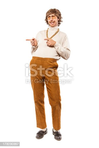 A shaggy 1970's man with stereotypical hair, glasses, giant gold chain and mustache, points and gestures in a flirtatious manner, but really looking more like a goof.  Isolated on a white studio background.