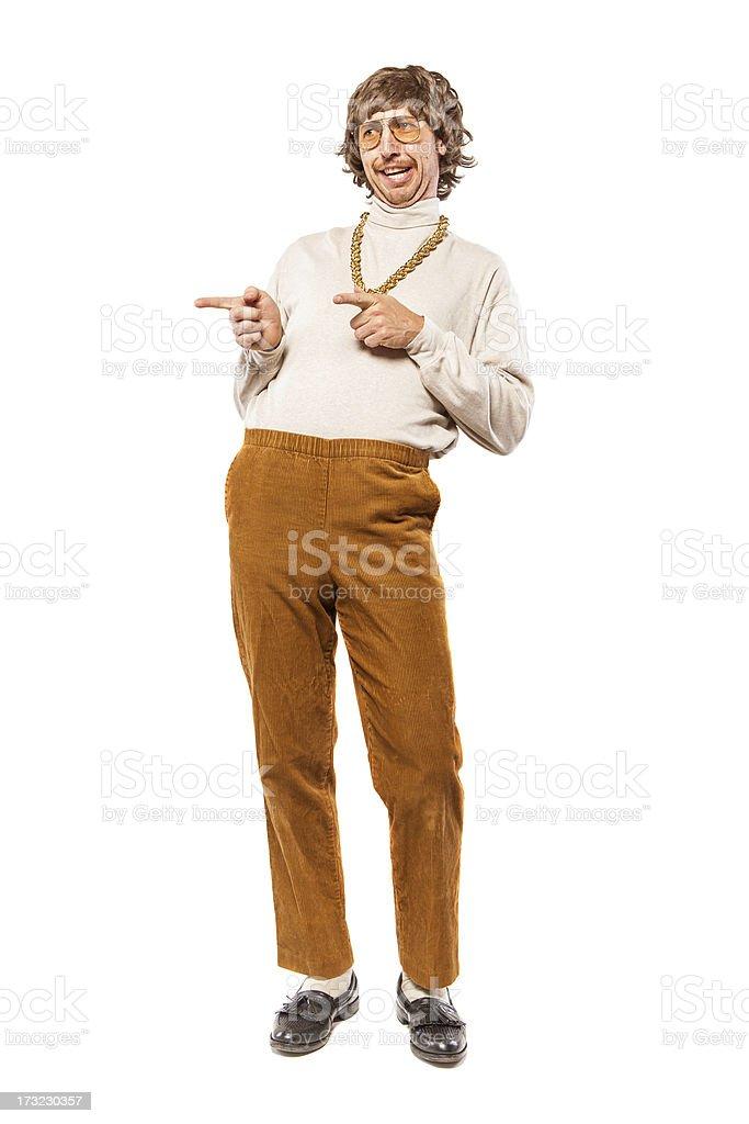Flirting Retro Seventies Man on White stock photo