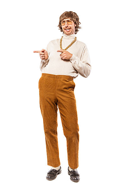 flirting retro seventies man on white - corduroy stock pictures, royalty-free photos & images