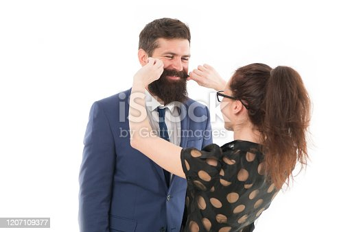 istock Flirting with boss. Seductive secretary. Business partners man with beard and woman flirting business conference or meeting. Boss and attractive lady assistant white background. Business relations 1207109377
