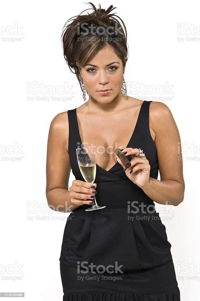 Flirting with champagne and a cigar royalty-free stock photo