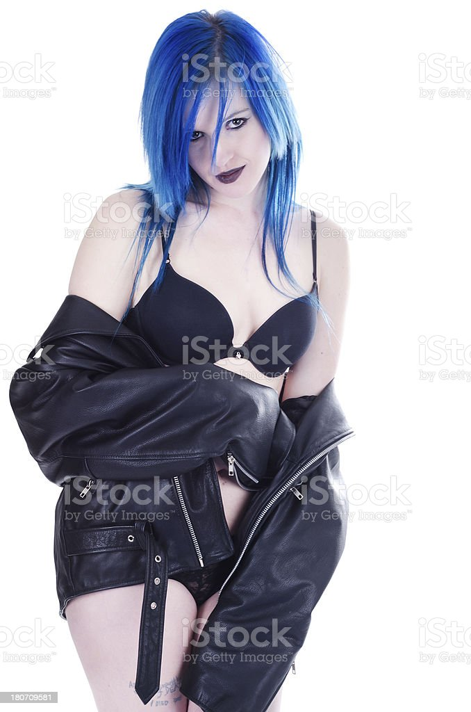 Flirty young woman in black leather and lingerie royalty-free stock photo