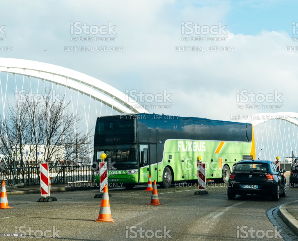 Flixbus green bus at German French Border stock photo