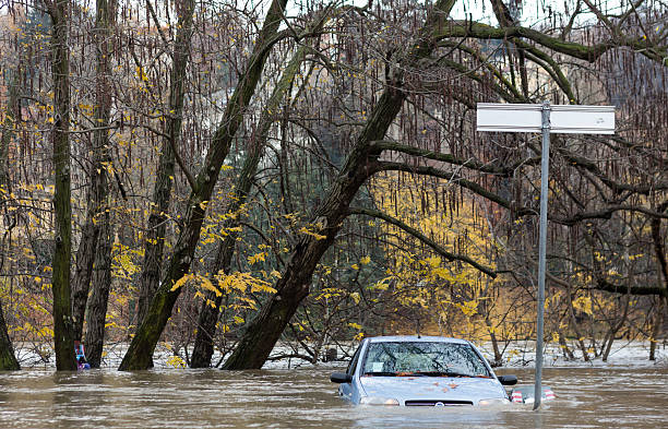 flloding In Turin, Italy: car under water stock photo