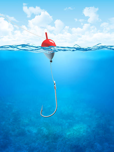 Float, fishing line and hook underwater  fishing hook stock pictures, royalty-free photos & images