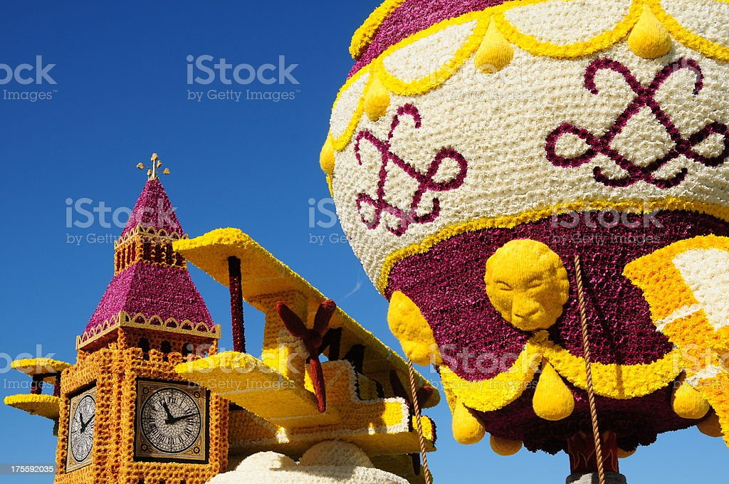 Float of flowers, Jersey. stock photo