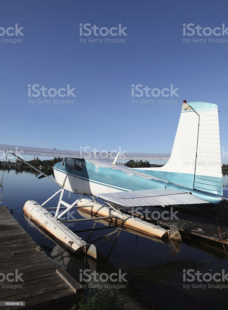 Float Plane at Dock stock photo