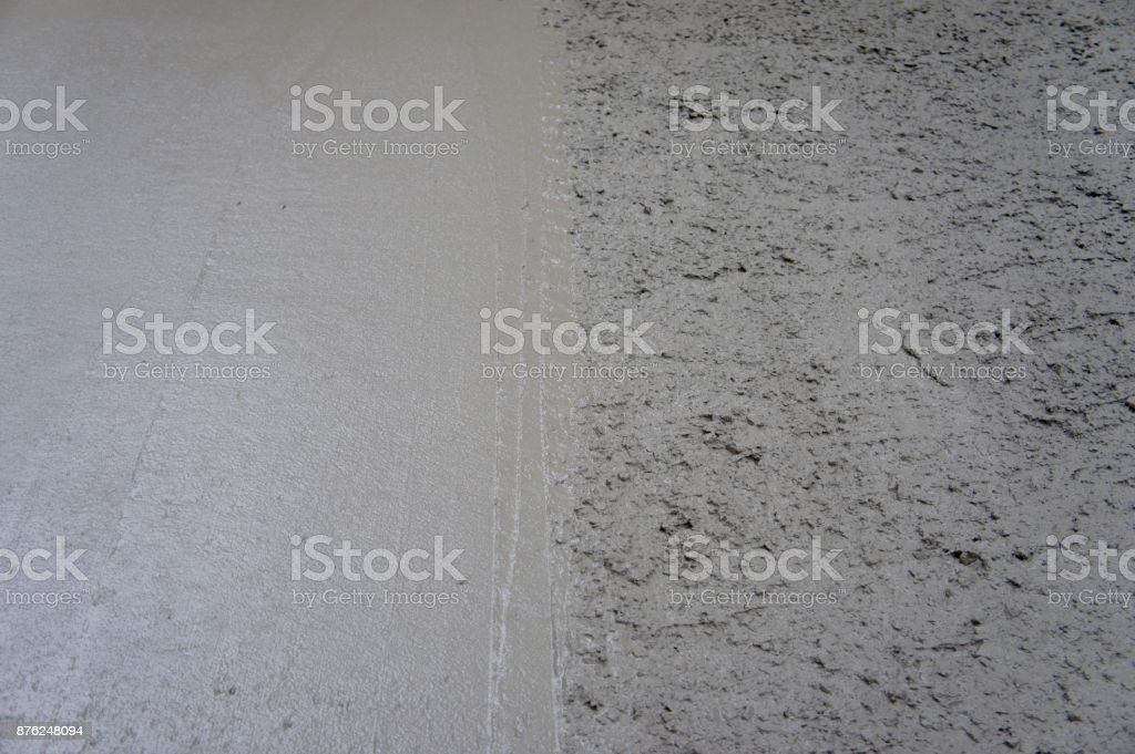 Floated Concrete against Freshly Placed Concrete stock photo