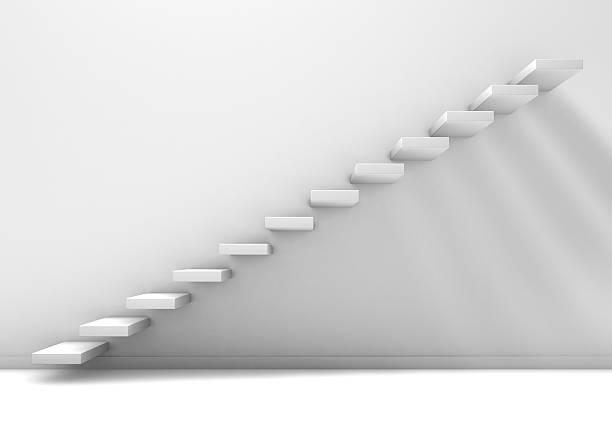 leerer weißer raum mit treppen - bild wandtreppe stock-fotos und bilder