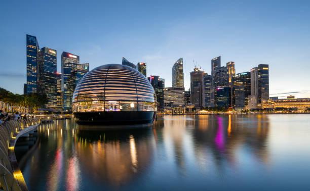 Floating Apple Store and Singapore skyline at Marina Bay stock photo