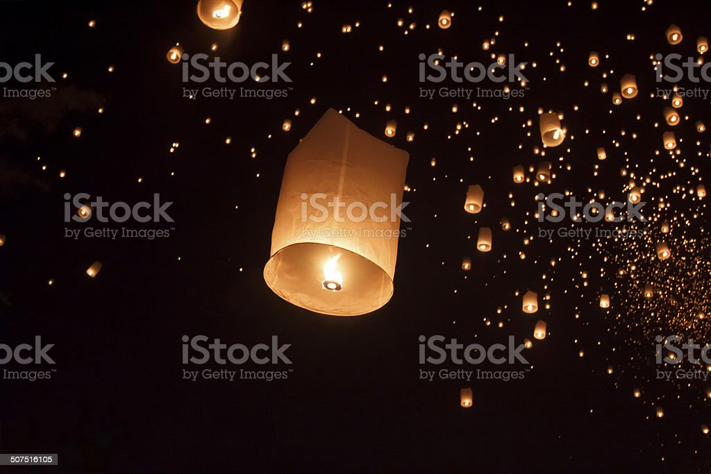 Floating asian lanterns in Chiang Mai Thailand stock photo