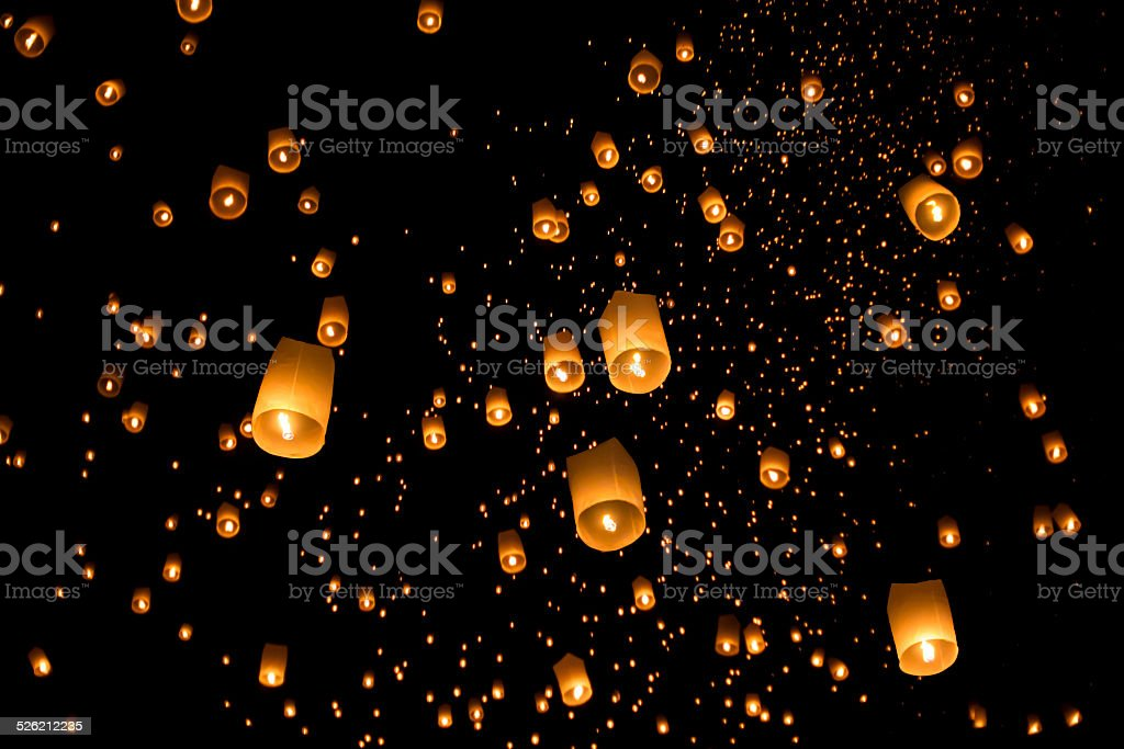 Floating asian lanterns in ChiangMai ,Thailand stock photo