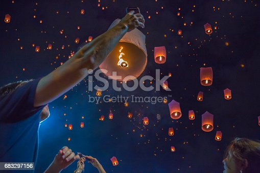 istock Floating asian lanterns in the sky of Chiang Mai, Thailand 683297156