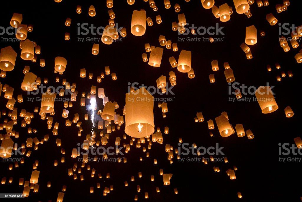 Floating asian lanterns stock photo