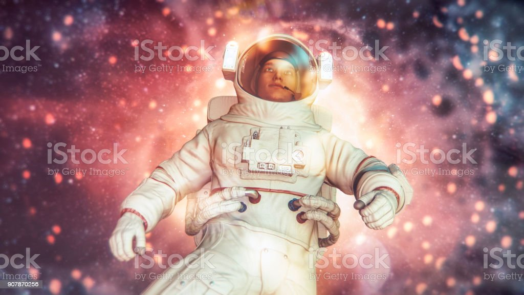 Floating astronaut in distant galaxy stock photo
