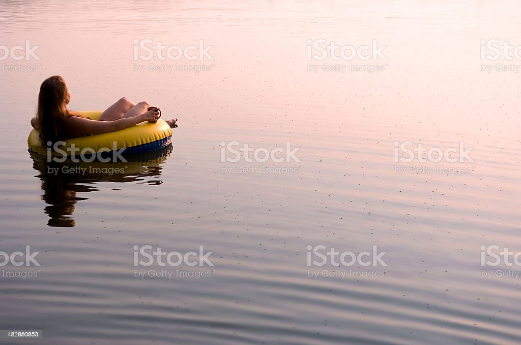 floating at sunrise, #2 stock photo