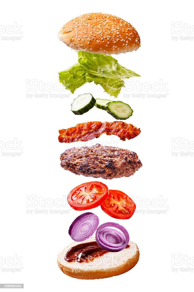 floating beef bacon burger components on white background - Photo