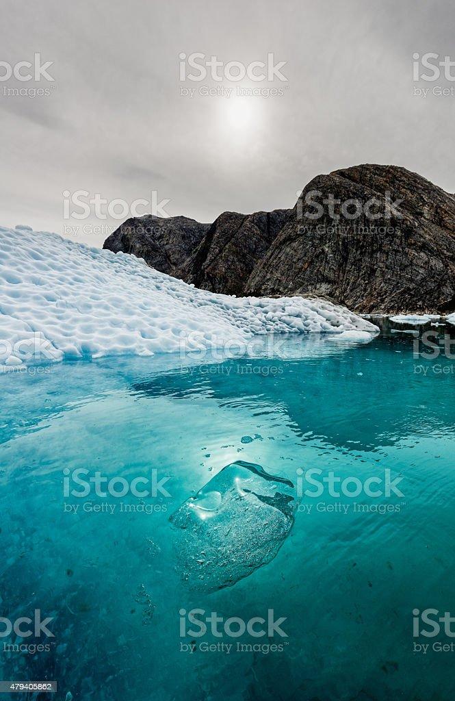 Floating Bergy Bit Greenland Nigerdlikasik stock photo