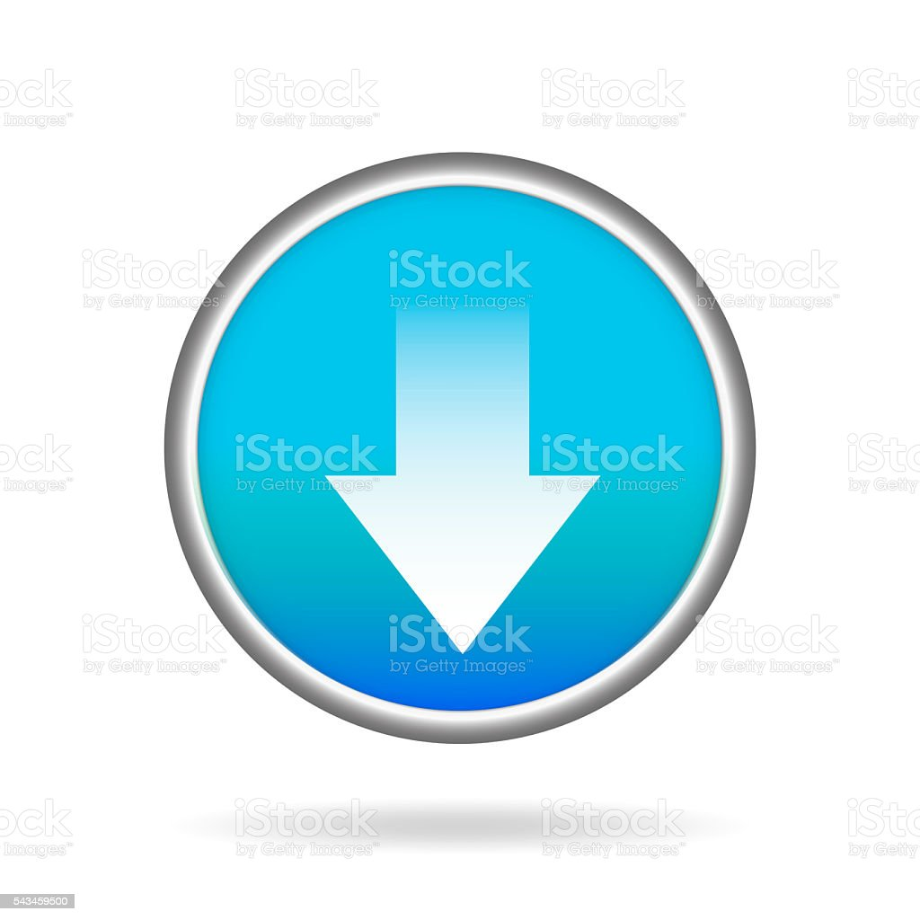 Floating blue Button or Badge with download symbol stock photo