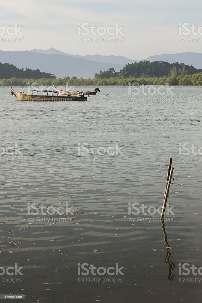 Floating boat on the river royalty-free stock photo