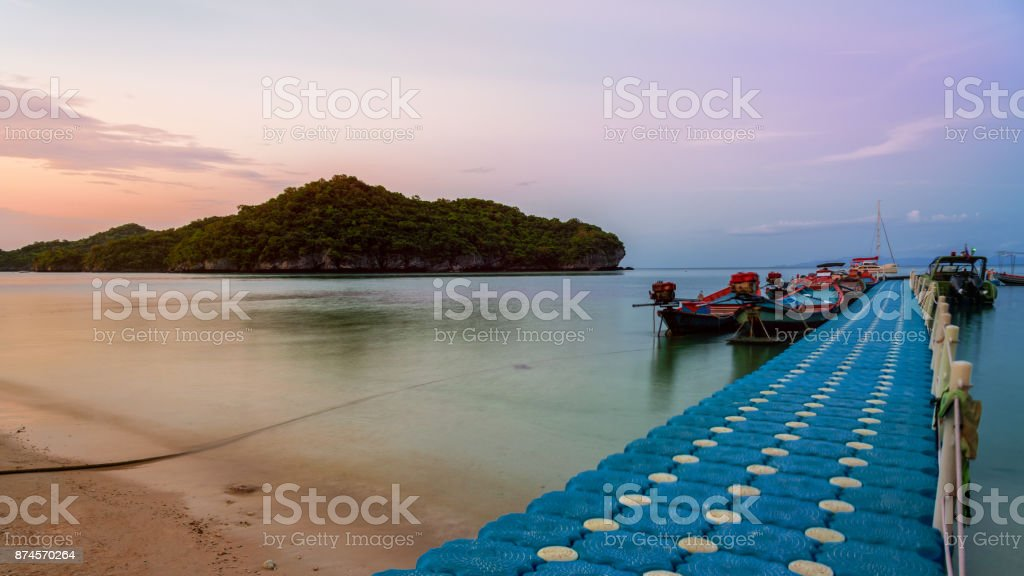 Floating bridge pier for tourist stock photo