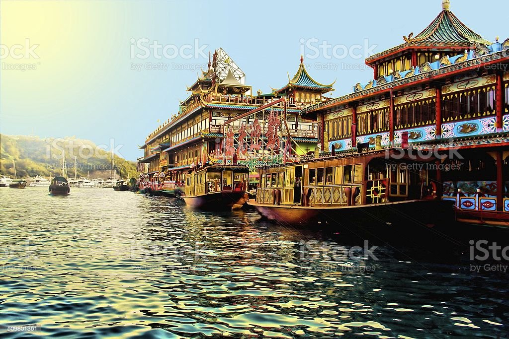 Floating Building in Hong Kong stock photo