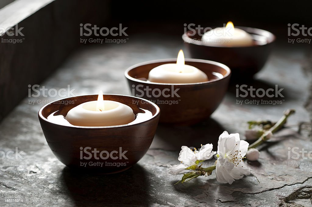 Floating Candles in a Zen Environment stock photo