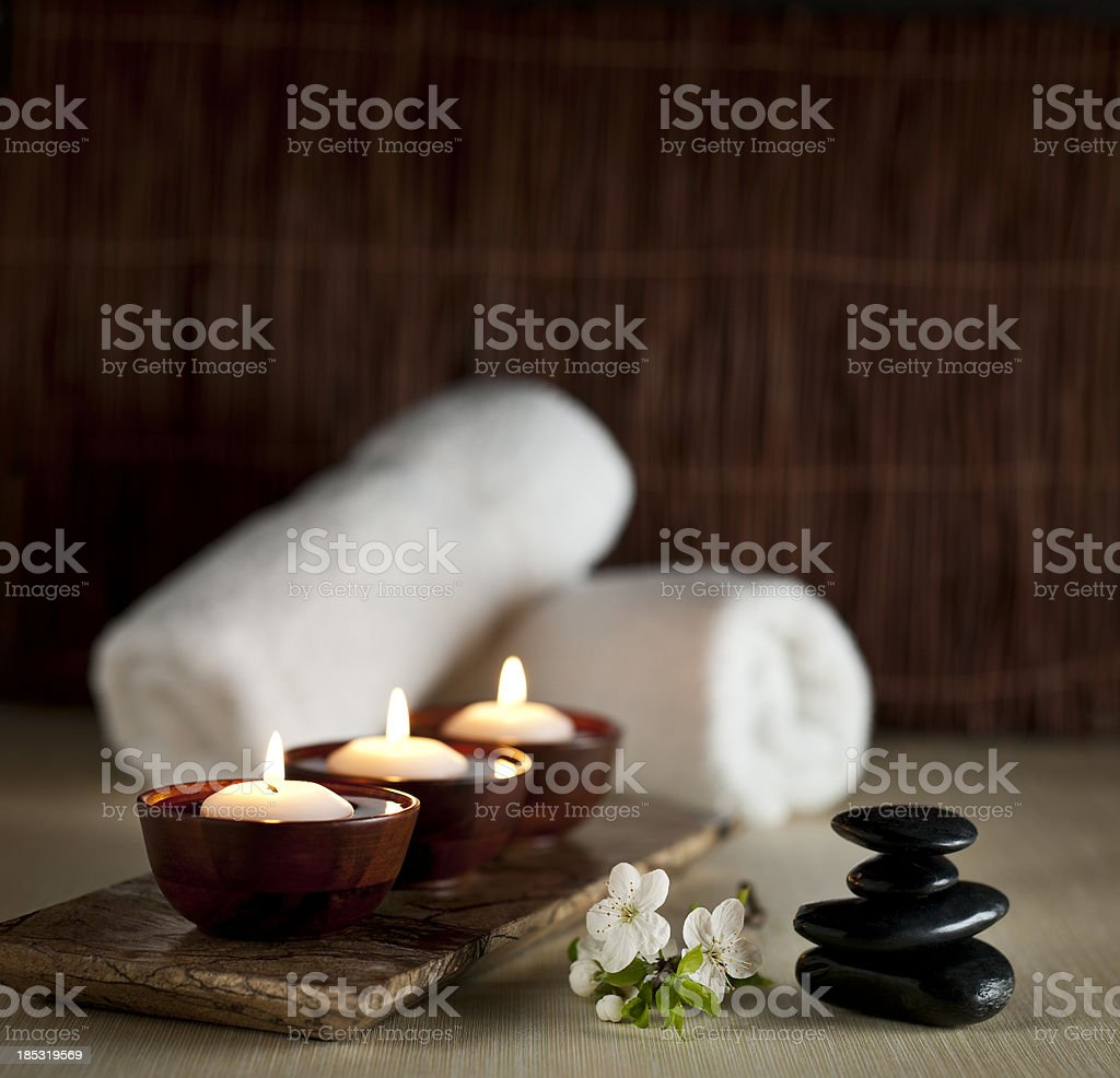 Floating Candles in a Zen Spa  -- XXL Background royalty-free stock photo