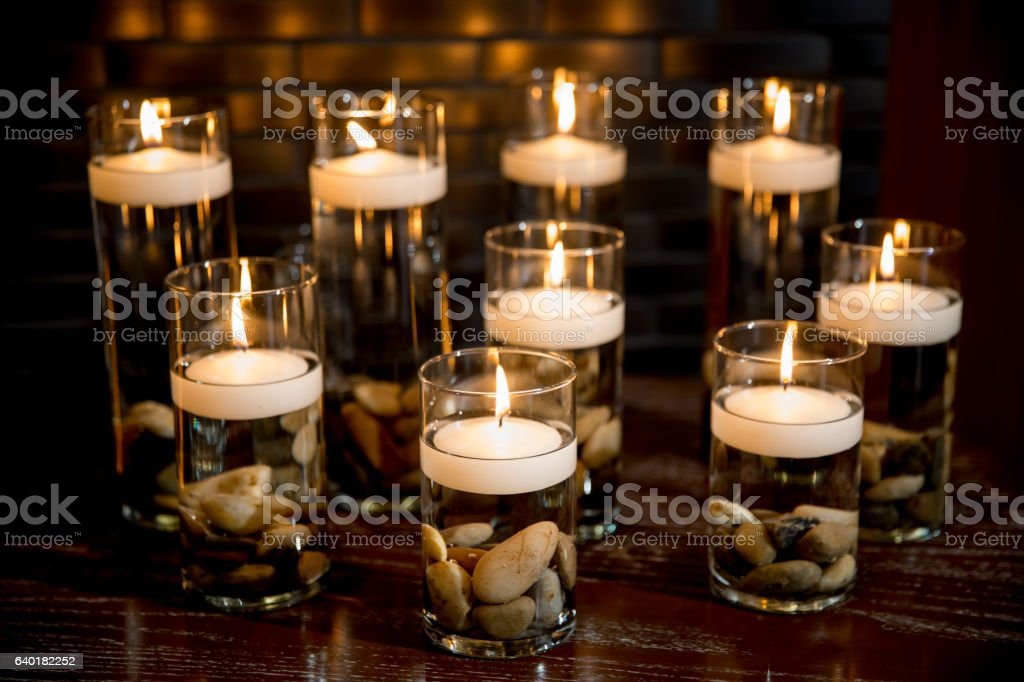 Floating Candles In Cylinder Vases Stock Photo More Pictures Of