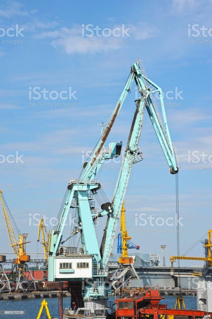 Floating cargo crane stock photo