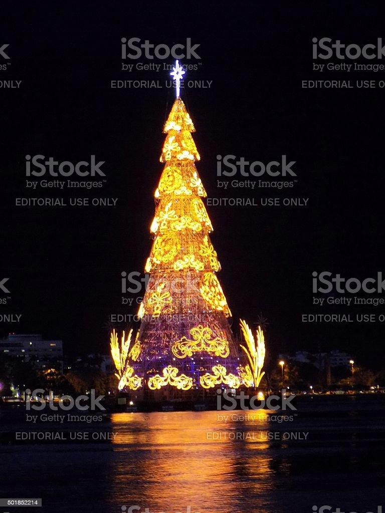 Floating Christmas Tree: Electronics Wonder Impresses Tourists Stock Photo