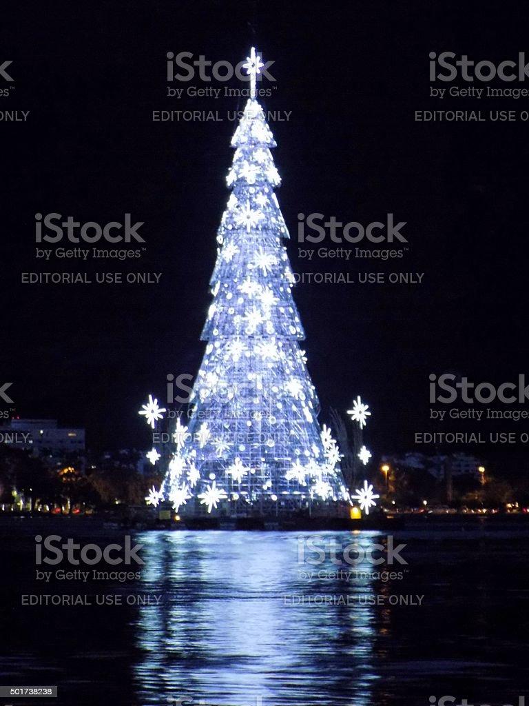 Floating Christmas Tree, Lagoa Rodrigo De Freitas, Rio, Brazil Royalty Free  Stock